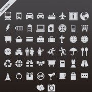Gray travel series vector icons free