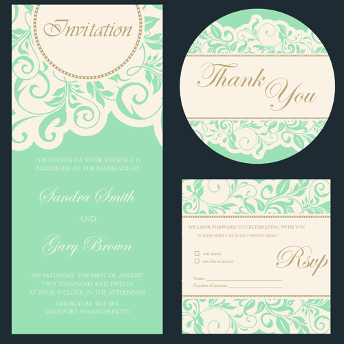 Retro Wedding Invitation Cards Design 02 Free