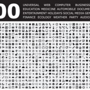800 Small fine web media icons set free