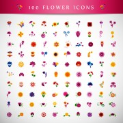 Beautiful flower icons vector graphics free