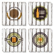 Beer labels with retro wood board vector 02 free