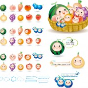 Cute cartoon fruits baby vector free