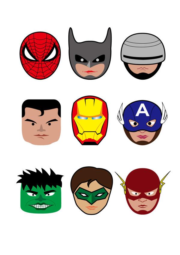 cartoon superheroes head portrait vector free