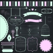 Retro ribbon with border and frame ornaments vector 02 free