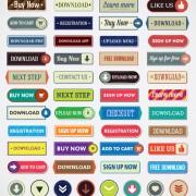 Vintage flat web buttons vectors set free
