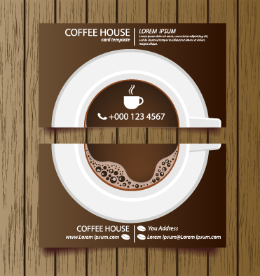 Creative coffee house business cards vector graphic 05 free
