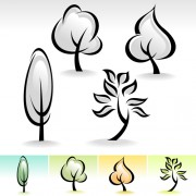 Drawing cute tree vector graphics 02 free