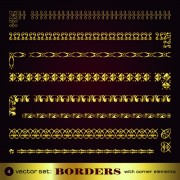 Golden borders with corners elements vector graphic 02 free
