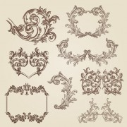 Vintage decorative borders and frames with corners vector free