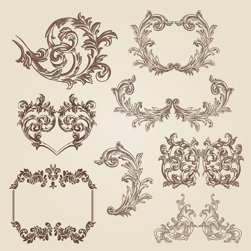 Vintage decorative borders and frames with corners vector ...  Fancy