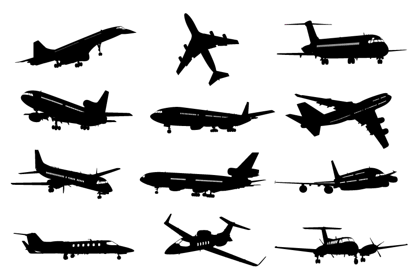different airplane silhouette vector set free