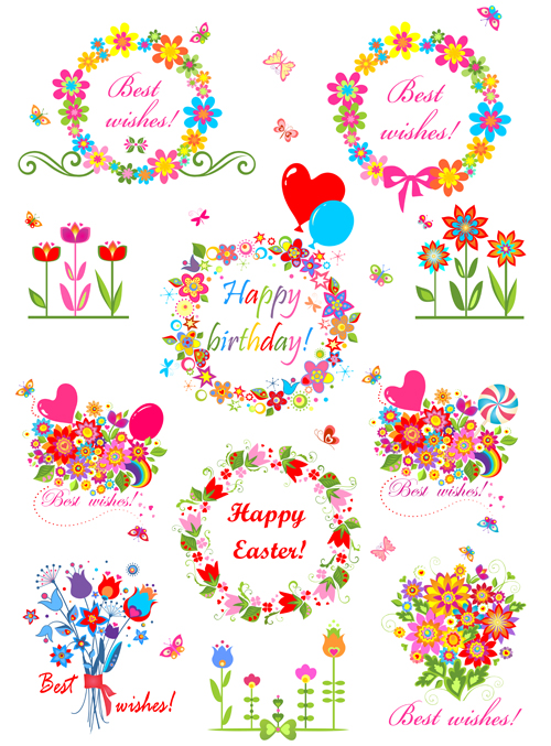 holiday floral objects vector design free free download