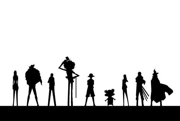 one piece character silhouettes vector for free download