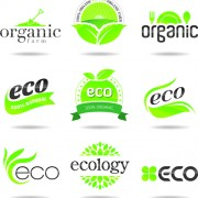 Eco with natural logos and labels vector 02 free