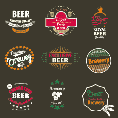 vintage royal beer labels with badges vector 02 free free download