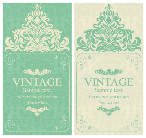 Gray Vintage Style Floral Invitations Cards Vector 06 For