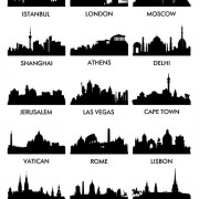 World famous cities silhouettes vector set 04 free