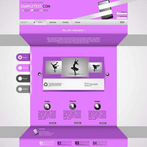 Purple style business website creative template vector 05 free ...