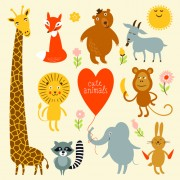 Cartoon cute animals design graphics free
