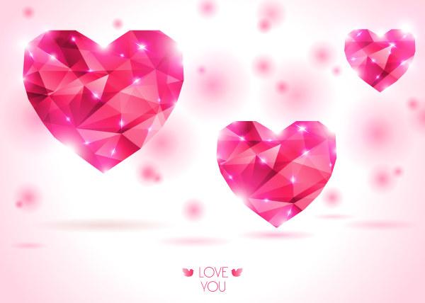 Diamond heart creative vector graphics 01 free
