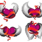 3D heart with red ribbon design vector free
