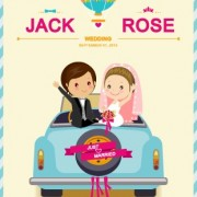 Cute cartoon style wedding invitation card vector 01 free