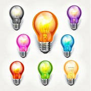 Different colored light bulb vector free
