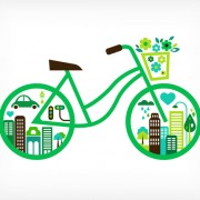 Green bicycle and city vector free