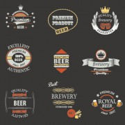 Vintage royal beer labels with badges vector 03 free