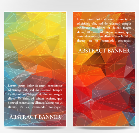 Abstract geometric shapes vertical banners vector 03 free