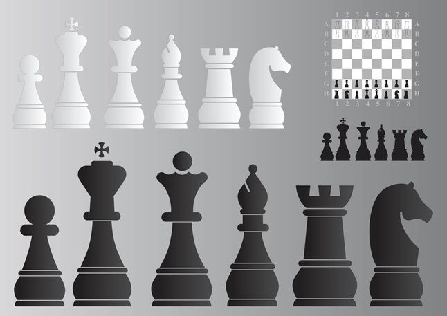 Chess Board and Pieces vector free