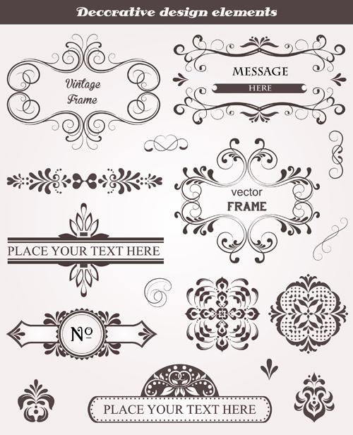 Decorative design elements frames vector free