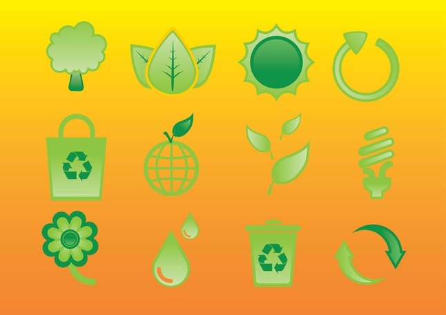 Glossy Nature Icons vector free