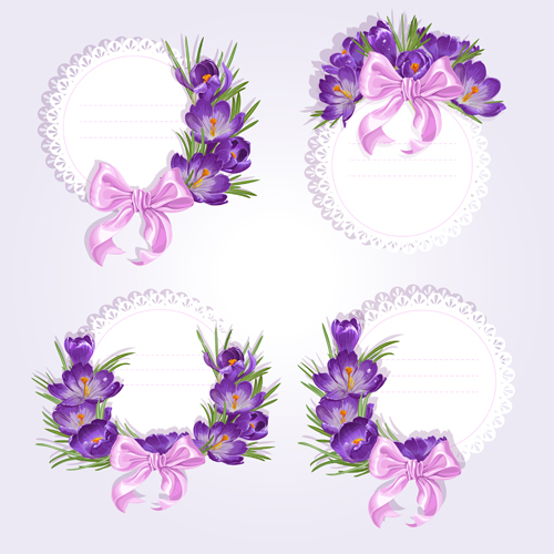 Purple flower with bow vector cards 01 free