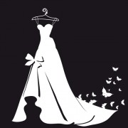 Beautiful wedding dress silhouette design vector 05 free