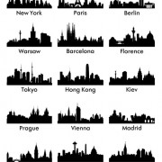 World famous cities silhouettes vector set 03 free