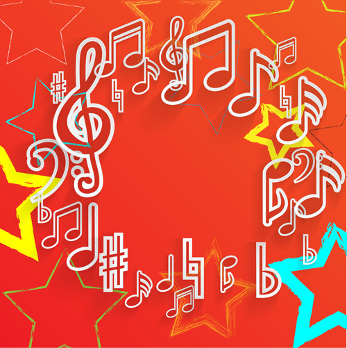 Elegant music note background vector set 04 free