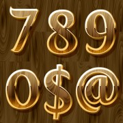 Wooden golden numeric graphic vector 02 free