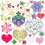 Floral with heart pattern vector free