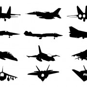 Military plane silhouette vector pack free