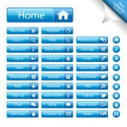 Shiny blue web buttons vectors pack free