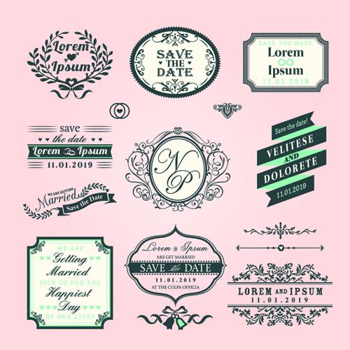 romantic wedding labels design vector free free download
