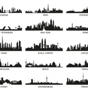 World famous cities silhouettes vector set 02 free