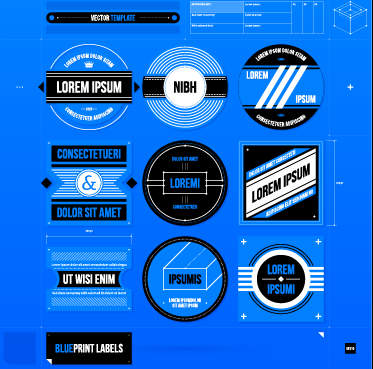 Creative business labels design graphic vector 05 free