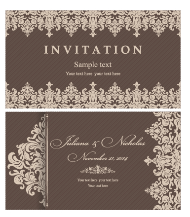 Decorative Pattern Wedding Invitation Cards Vector Set 05