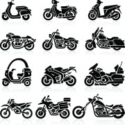 Different motorcycle vector silhouettes image free