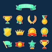 Medals objects design vector 05 free