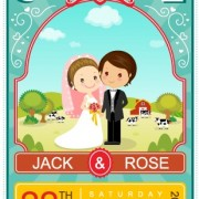 Cute Cartoon Style Wedding Invitation Card Vector 02 For Free