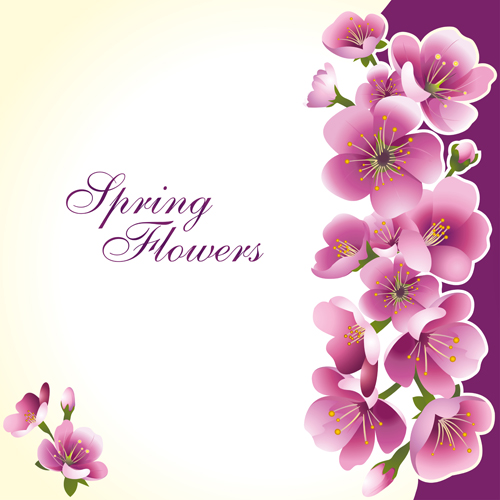 Dark Pink Flower Spring Background Set Vector 02 Free