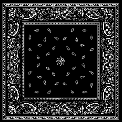 black with white bandana patterns design vector 02 free free download